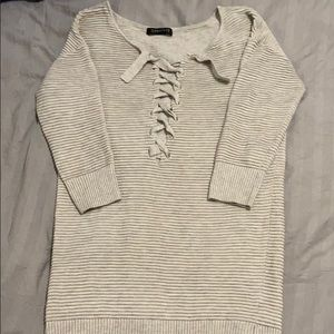 Dynamite long sweater with tie detail.